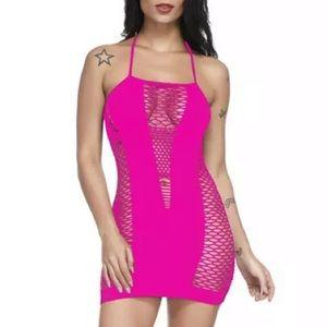 Sexy dress pink lingerie fishnet club wear bodycon